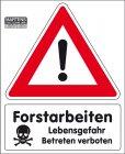 """Best.-Nr. 1190 Bannerschild """"Forstarbeiten"""" ohne Logo"""
