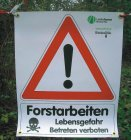 """Best.-Nr. 1192 Bannerschild """"Forstarbeiten"""" Logo Landesforstverwaltung NRW"""