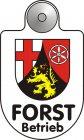 Best.-Nr. 1207 Text Forstbetrieb im Eloxaldruck, Wappen der meisten deutschen Bundesländer in Folie