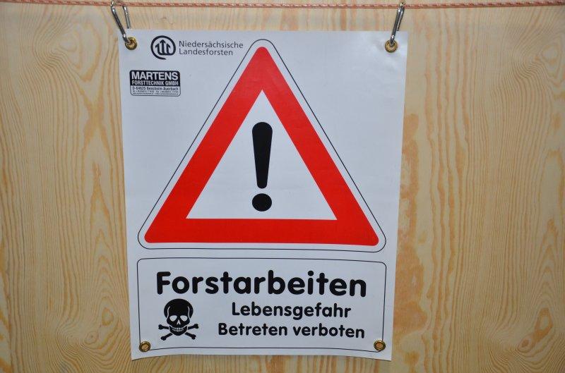 Bannerschild Forstarbeiten Niedersachsen