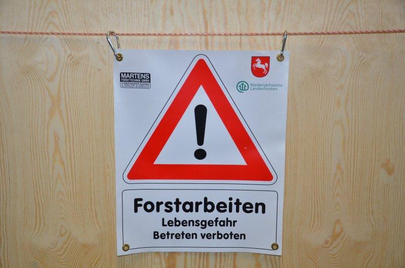 Bannerschild Forstarbeiten Niedersachsen Wappen