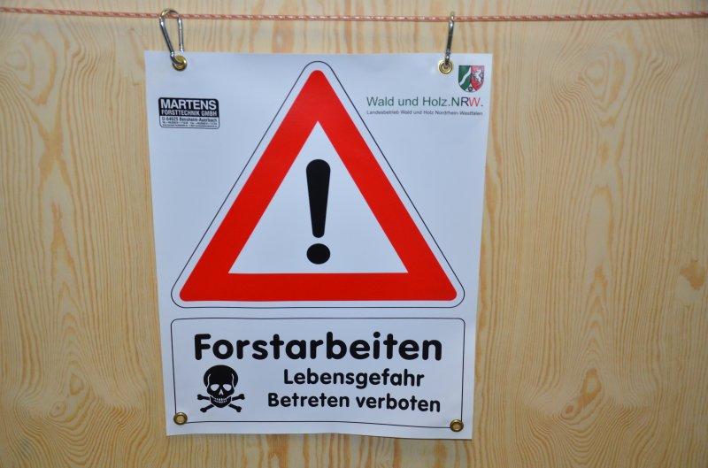 Bannerschild Forstarbeiten NRW